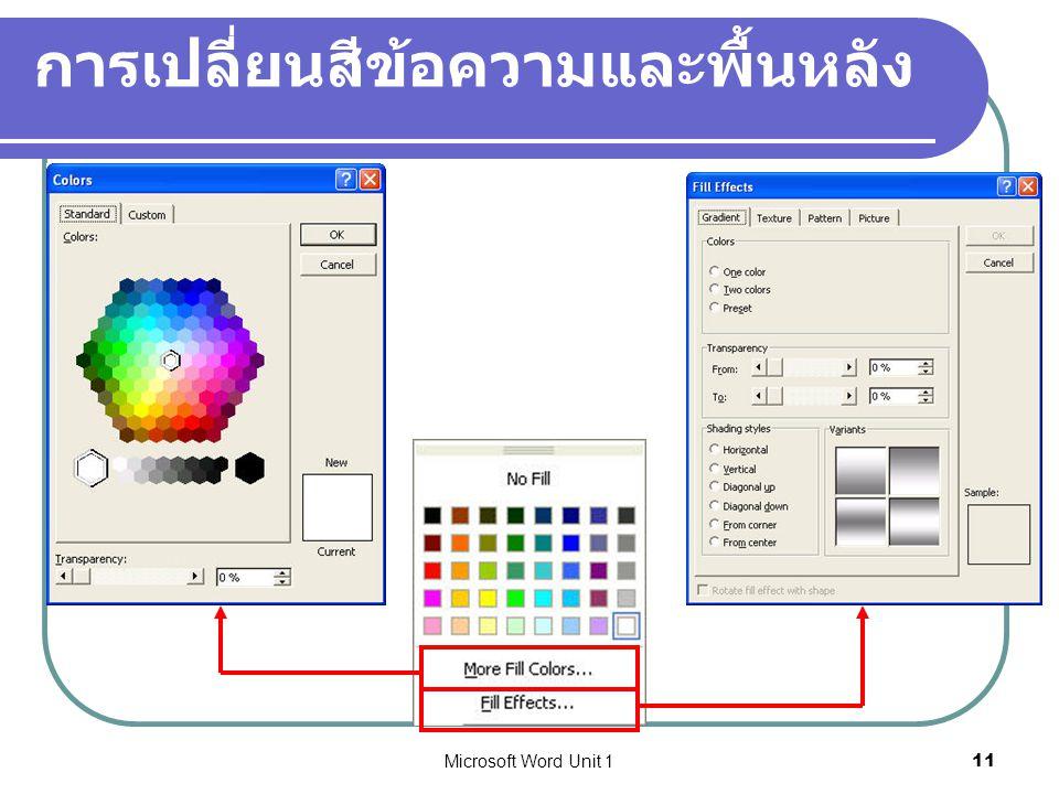 การเปลี่ยนสีข้อความและพื้นหลัง