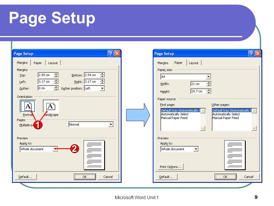 Page Setup 2 1 Microsoft Word Unit 1