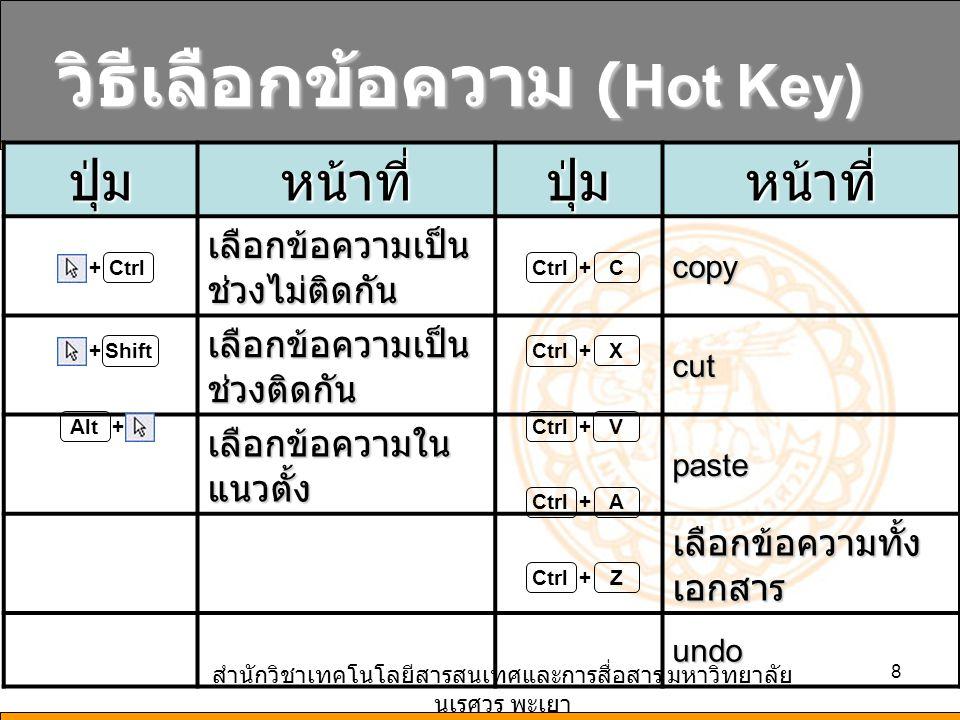 วิธีเลือกข้อความ (Hot Key)