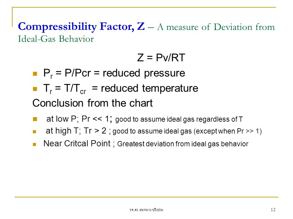Compressibility Factor, Z – A measure of Deviation from Ideal-Gas Behavior