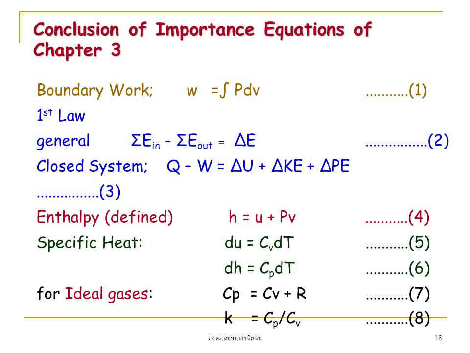 Conclusion of Importance Equations of Chapter 3