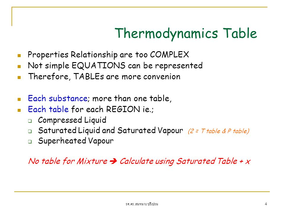 Thermodynamics Table Properties Relationship are too COMPLEX