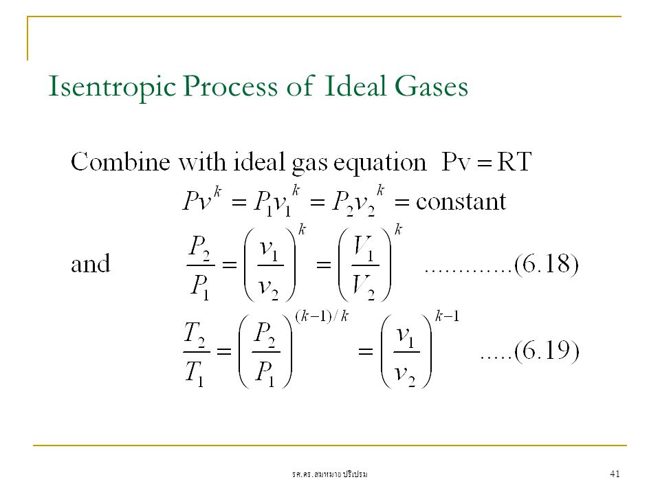 Isentropic Process of Ideal Gases