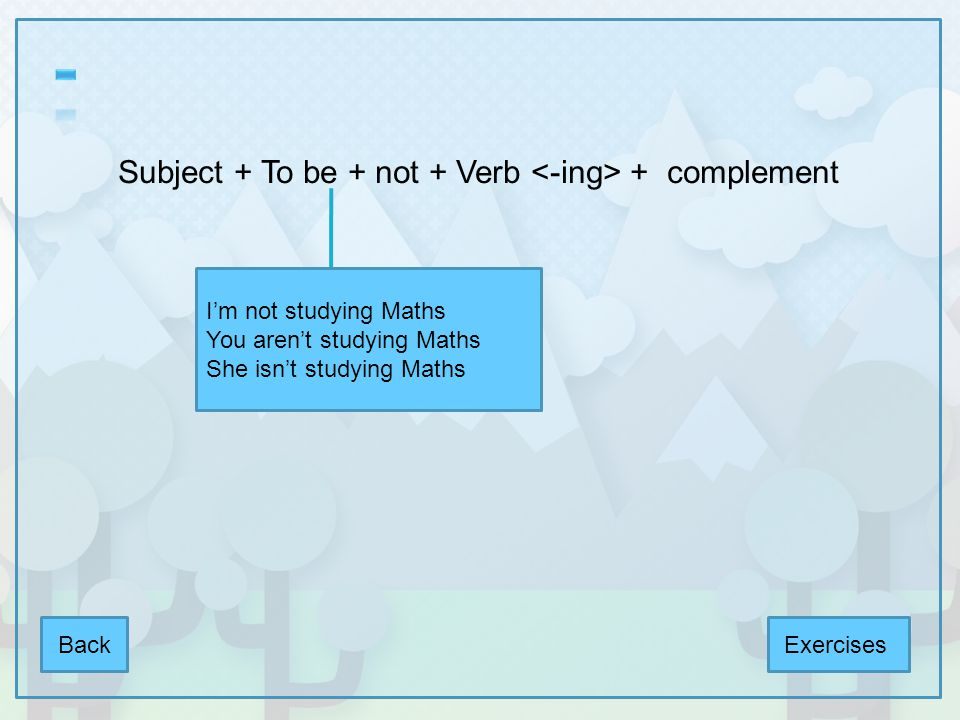 Subject + To be + not + Verb <-ing> + complement