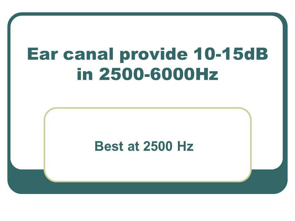Ear canal provide 10-15dB in 2500-6000Hz