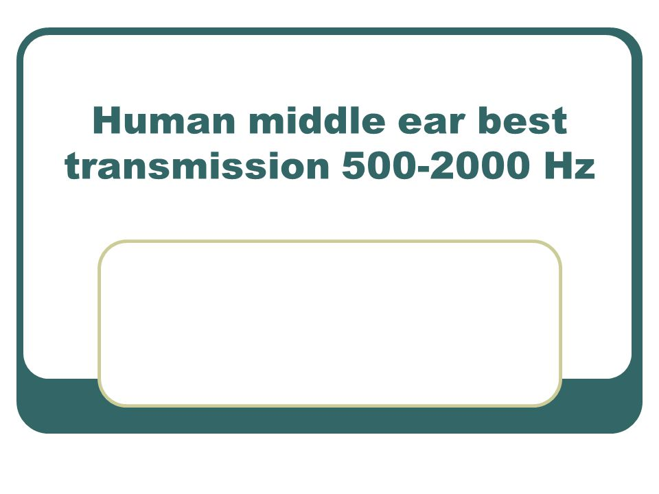 Human middle ear best transmission 500-2000 Hz