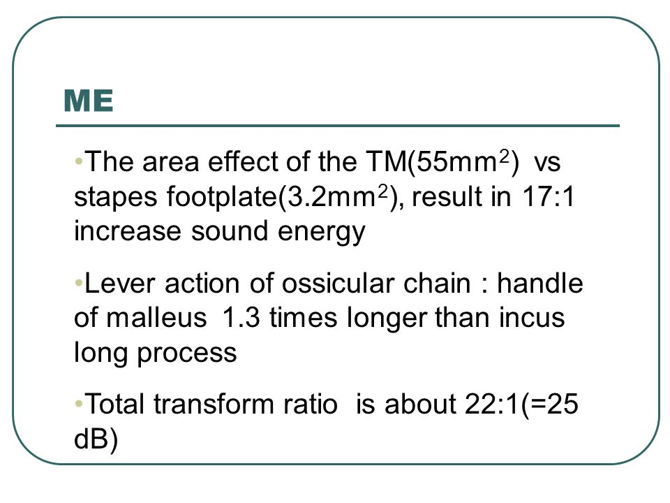 ME The area effect of the TM(55mm2) vs stapes footplate(3.2mm2), result in 17:1 increase sound energy.