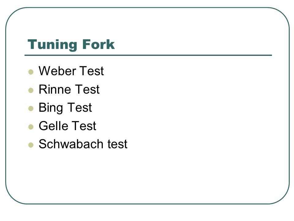 Tuning Fork Weber Test Rinne Test Bing Test Gelle Test Schwabach test