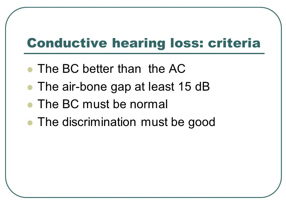 Conductive hearing loss: criteria