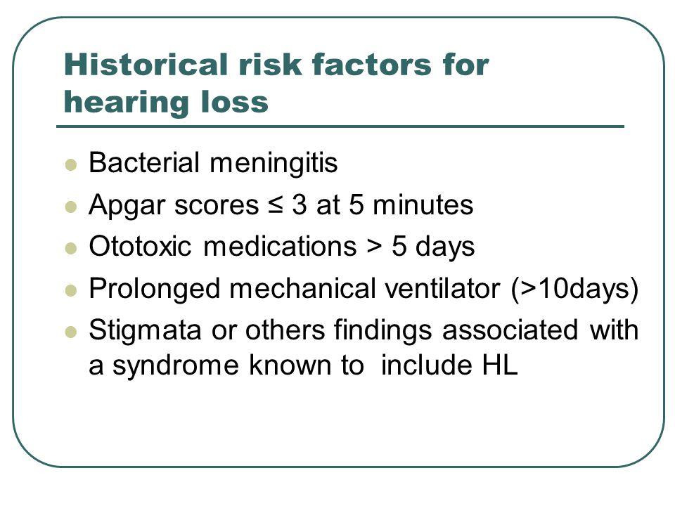 Historical risk factors for hearing loss