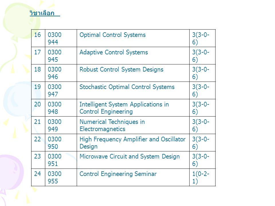 วิชาเลือก 16. 0300 944. Optimal Control Systems. 3(3-0-6) 17. 0300 945. Adaptive Control Systems.