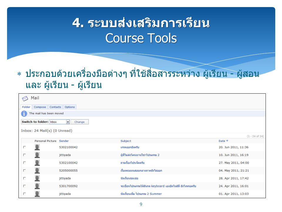 4. ระบบส่งเสริมการเรียน Course Tools