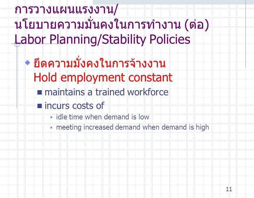 การวางแผนแรงงาน/ นโยบายความมั่นคงในการทำงาน (ต่อ) Labor Planning/Stability Policies