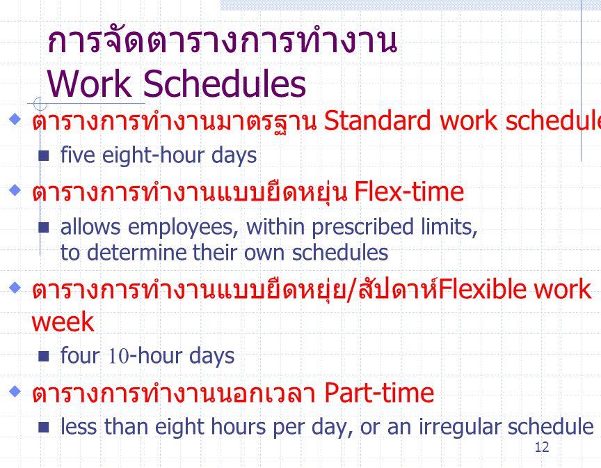 การจัดตารางการทำงาน Work Schedules