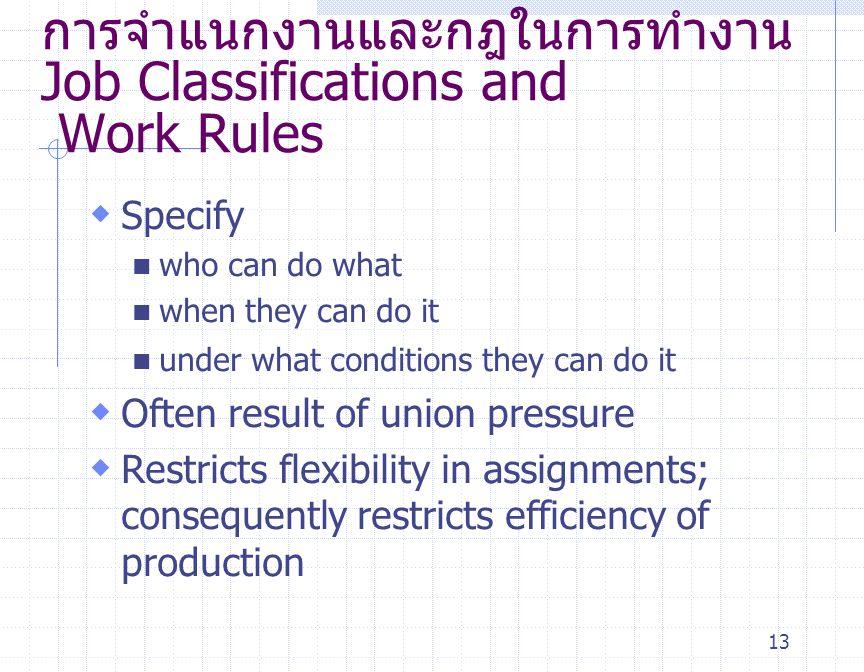 การจำแนกงานและกฎในการทำงาน Job Classifications and Work Rules