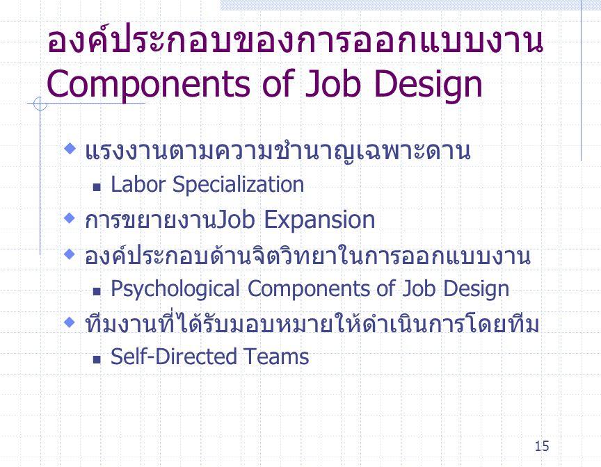 องค์ประกอบของการออกแบบงานComponents of Job Design