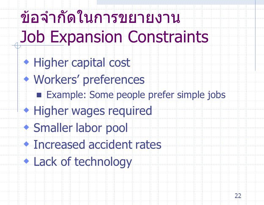 ข้อจำกัดในการขยายงาน Job Expansion Constraints