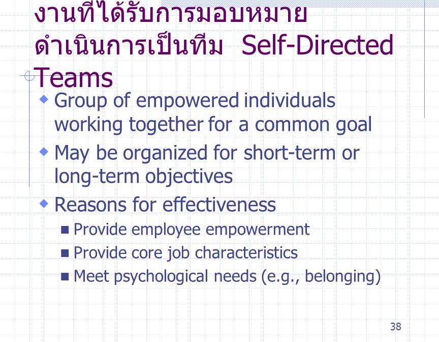 งานที่ได้รับการมอบหมายดำเนินการเป็นทีม Self-Directed Teams