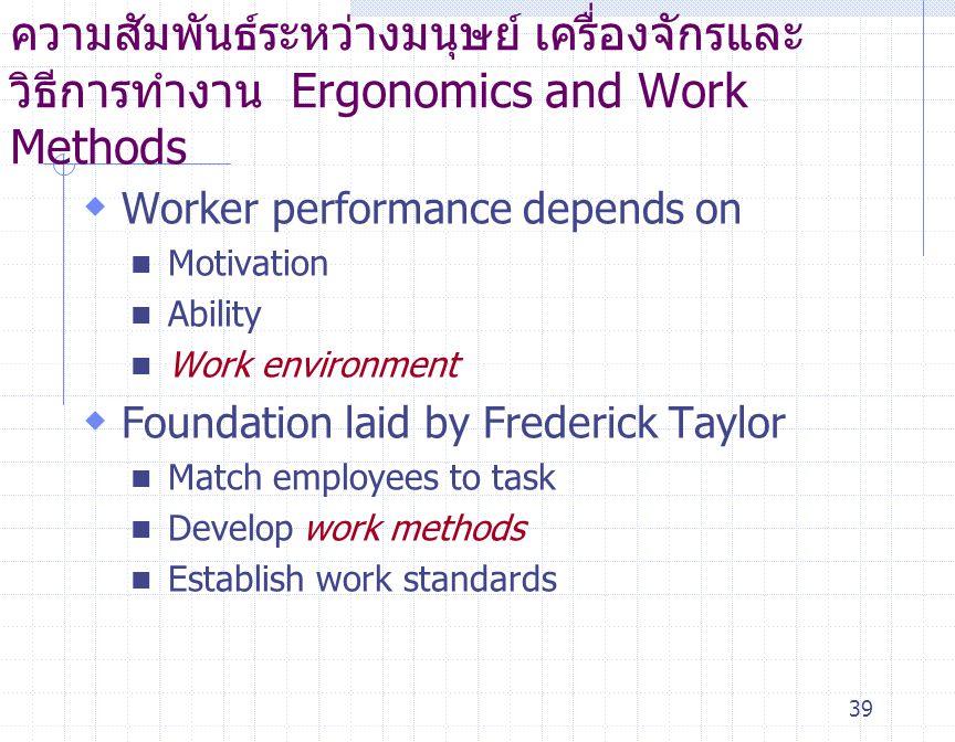 ความสัมพันธ์ระหว่างมนุษย์ เครื่องจักรและวิธีการทำงาน Ergonomics and Work Methods
