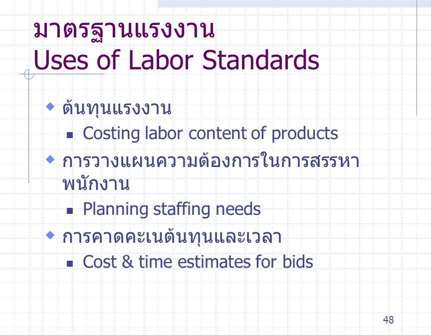 มาตรฐานแรงงาน Uses of Labor Standards