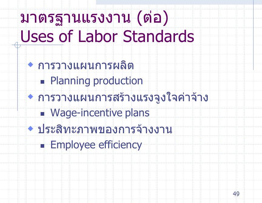 มาตรฐานแรงงาน (ต่อ) Uses of Labor Standards