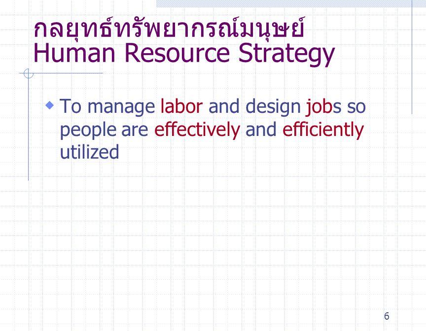 กลยุทธ์ทรัพยากรณ์มนุษย์ Human Resource Strategy