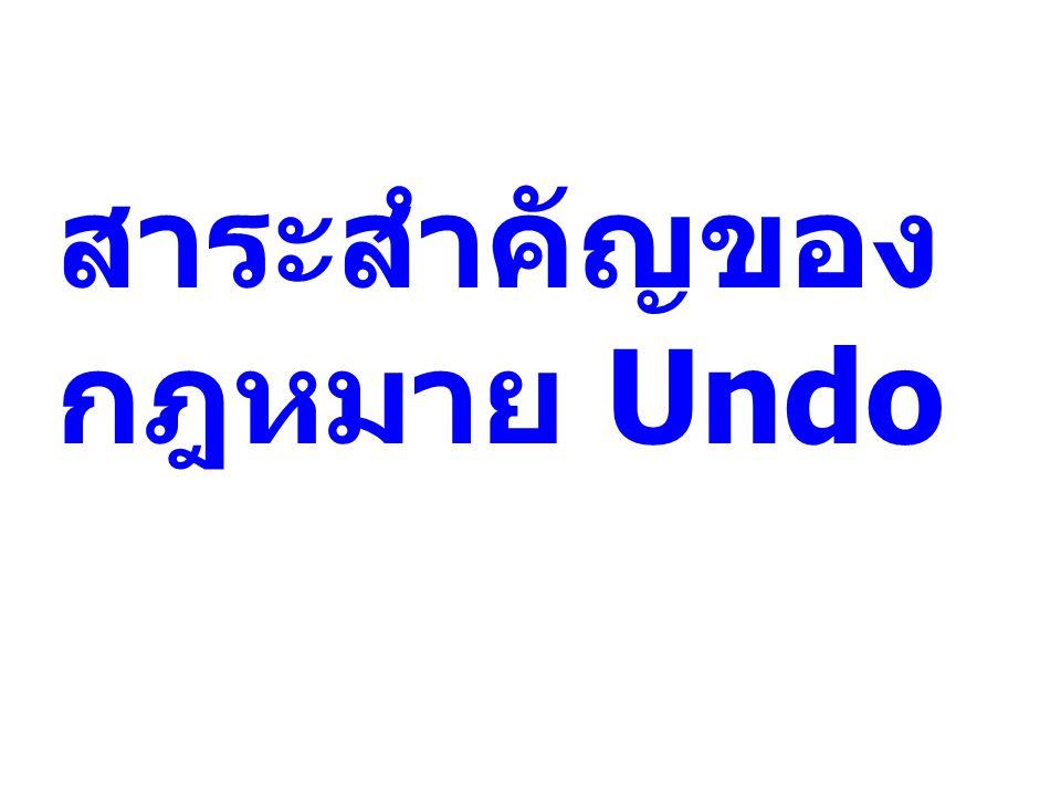 สาระสำคัญของกฎหมาย Undo