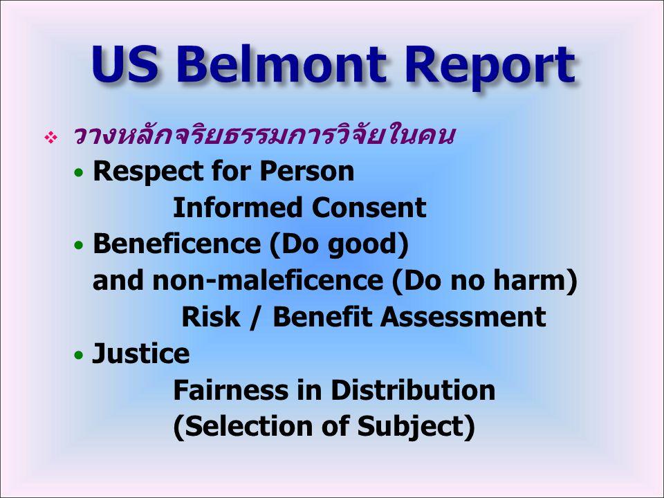 US Belmont Report วางหลักจริยธรรมการวิจัยในคน Respect for Person
