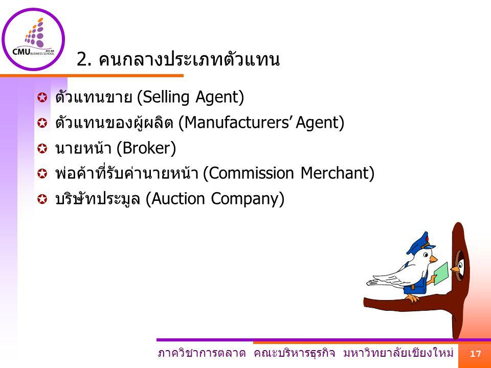 2. คนกลางประเภทตัวแทน ตัวแทนขาย (Selling Agent)