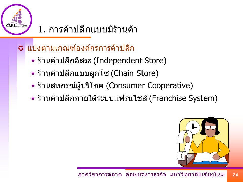 1. การค้าปลีกแบบมีร้านค้า