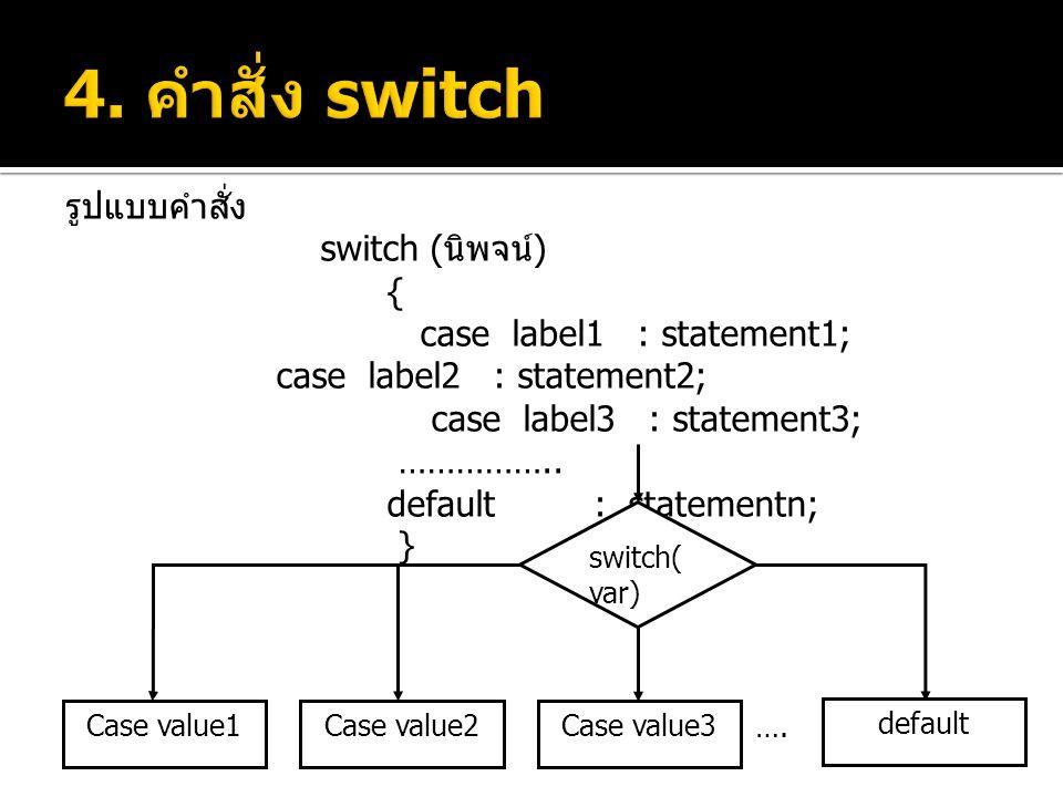 4. คำสั่ง switch