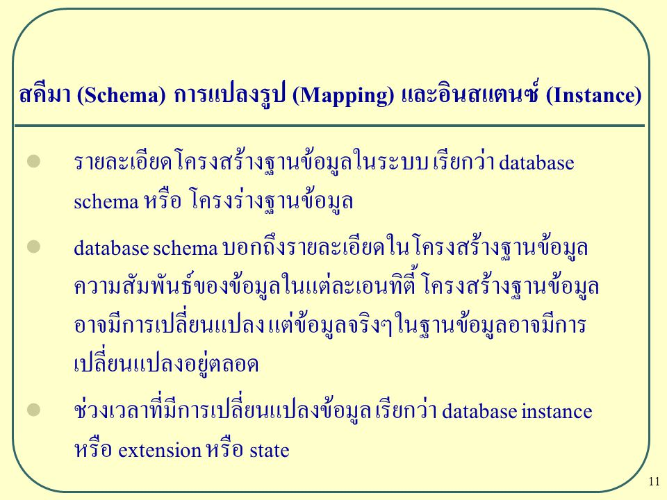 สคีมา (Schema) การแปลงรูป (Mapping) และอินสแตนซ์ (Instance)