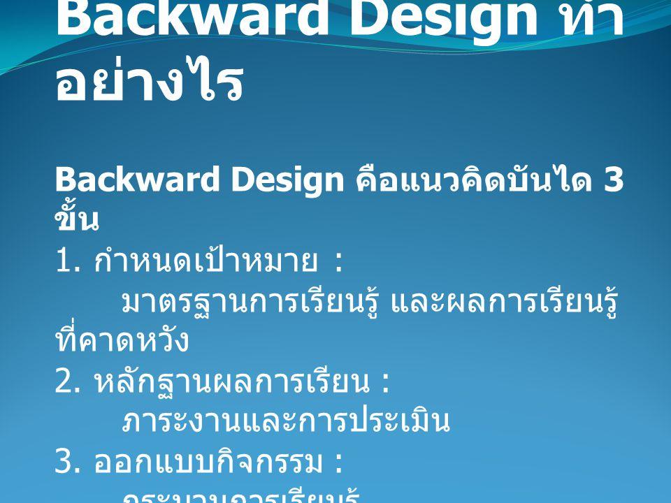 Backward Design ทำอย่างไร