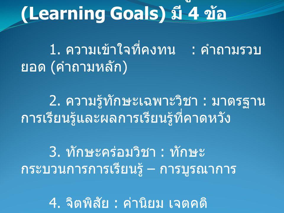 1. เป้าหมายการเรียนรู้ (Learning Goals) มี 4 ข้อ