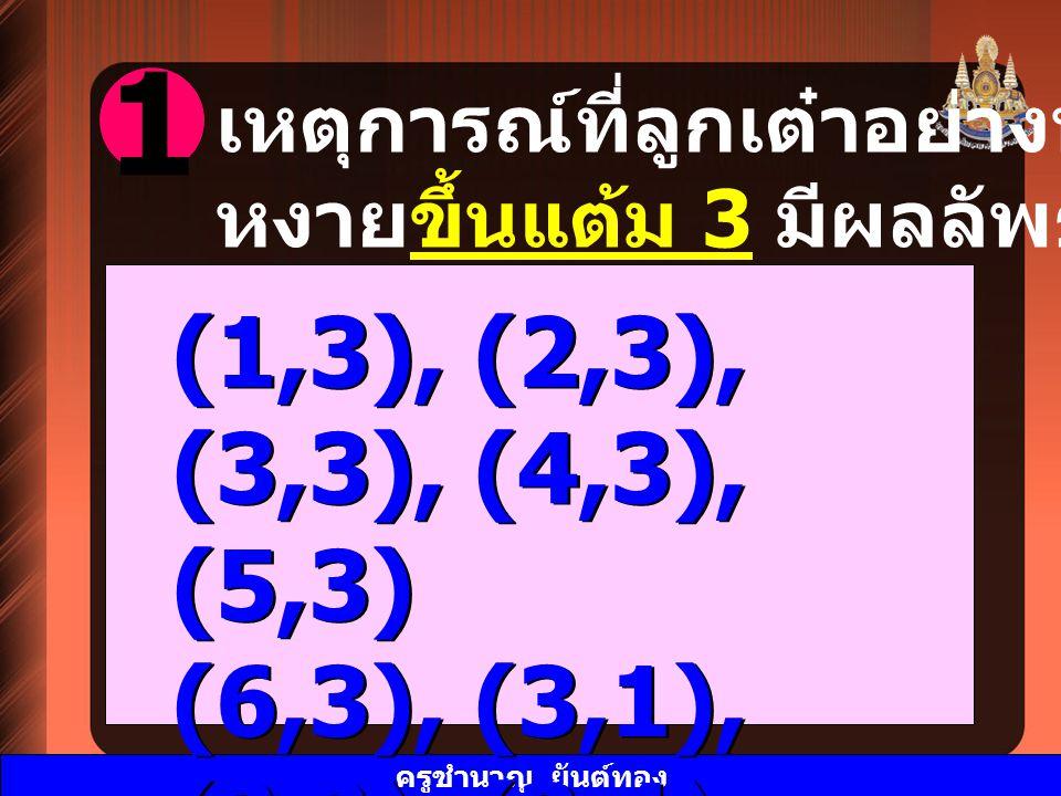 1 (1,3), (2,3), (3,3), (4,3), (5,3) (6,3), (3,1), (3,2), (3,4), (3,5)
