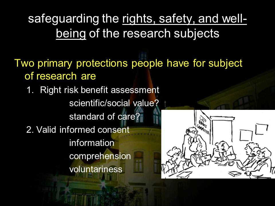 safeguarding the rights, safety, and well-being of the research subjects