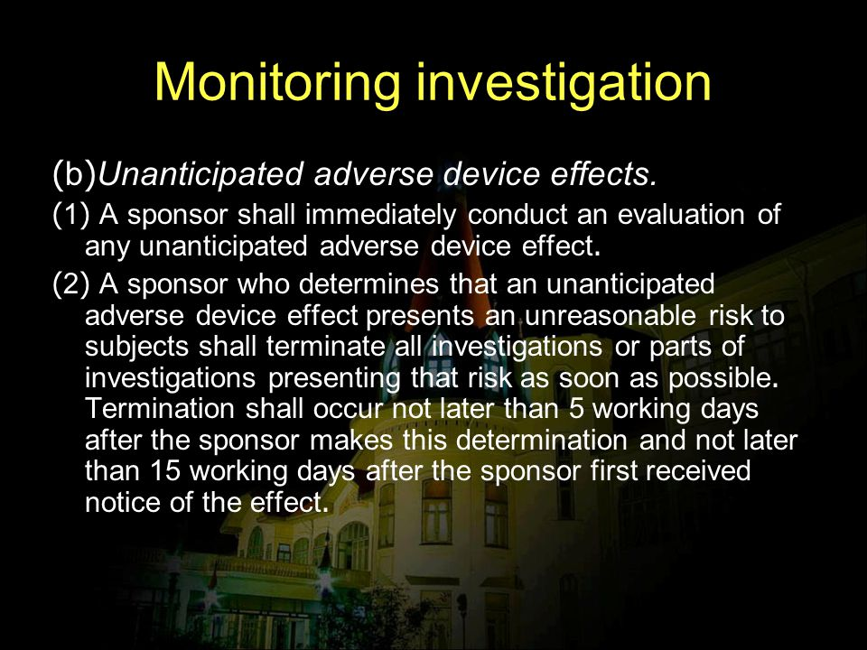 Monitoring investigation