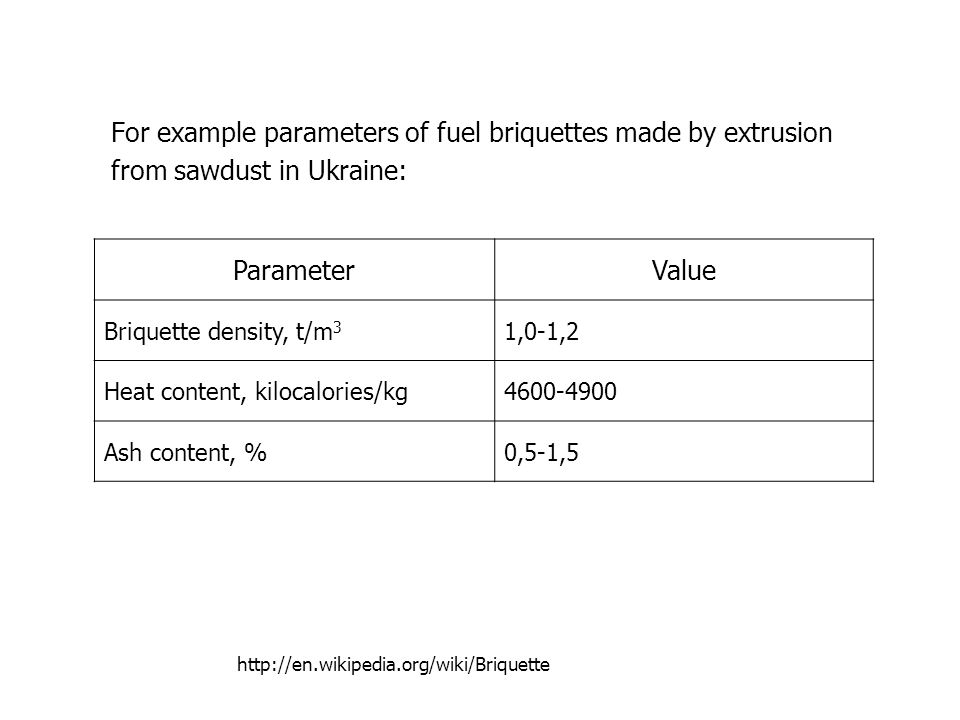 For example parameters of fuel briquettes made by extrusion