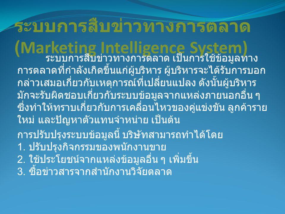 ระบบการสืบข่าวทางการตลาด (Marketing Intelligence System)