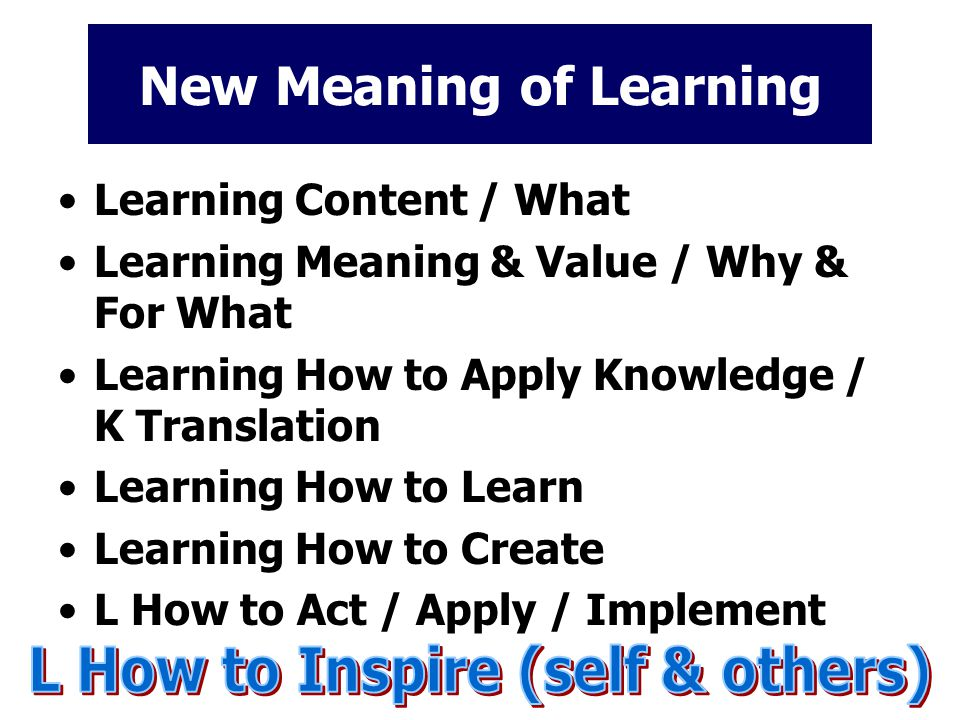 New Meaning of Learning