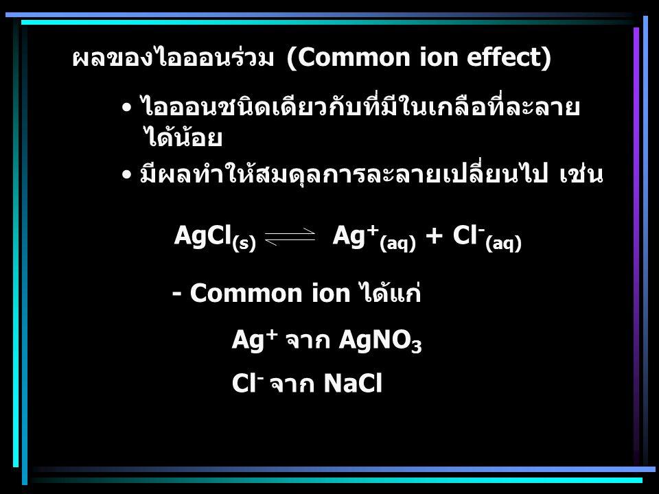 ผลของไอออนร่วม (Common ion effect)