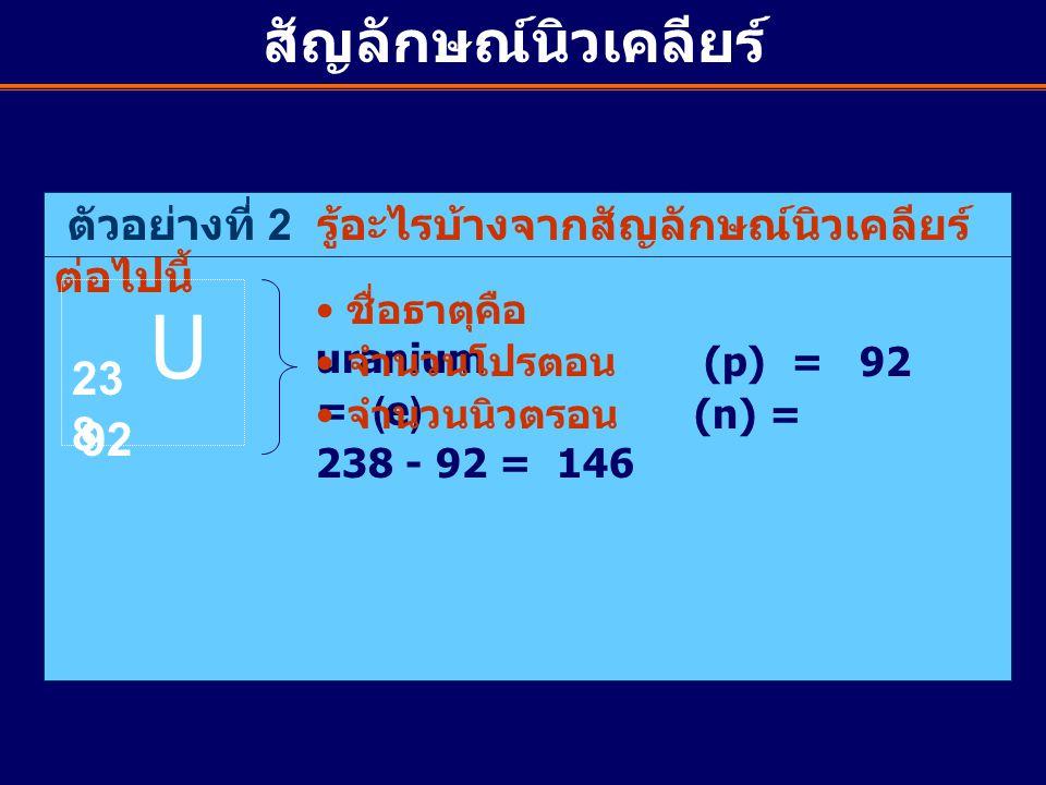 U สัญลักษณ์นิวเคลียร์ 238 92