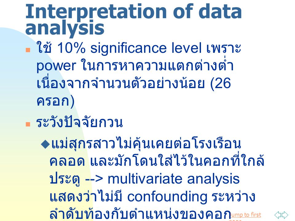 Interpretation of data analysis
