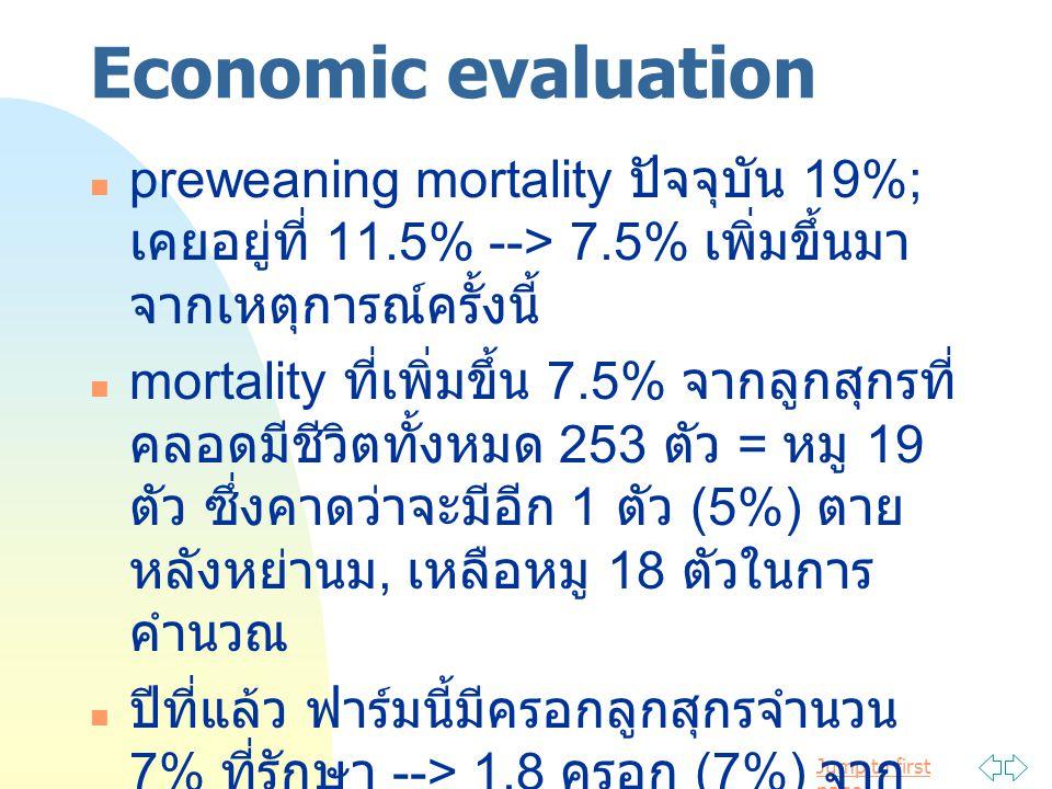 Economic evaluation preweaning mortality ปัจจุบัน 19%; เคยอยู่ที่ 11.5% --> 7.5% เพิ่มขึ้นมาจากเหตุการณ์ครั้งนี้