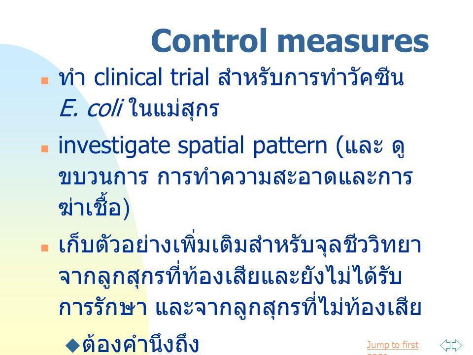Control measures ทำ clinical trial สำหรับการทำวัคซีน E. coli ในแม่สุกร