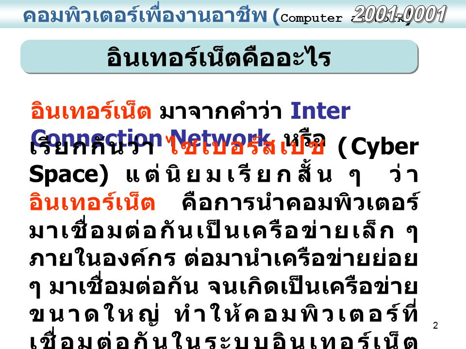 อินเทอร์เน็ตคืออะไร 2001-0001