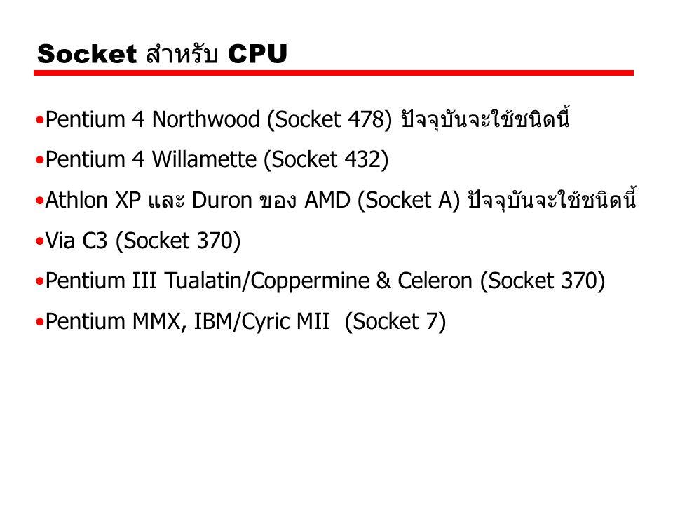 Socket สำหรับ CPU Pentium 4 Northwood (Socket 478) ปัจจุบันจะใช้ชนิดนี้ Pentium 4 Willamette (Socket 432)