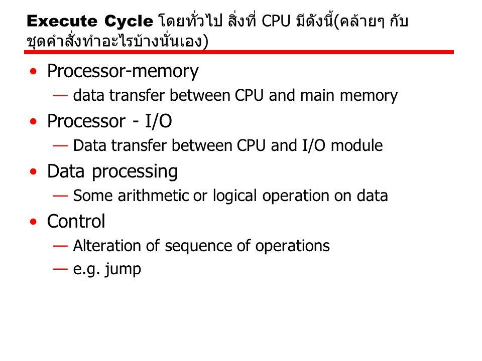 Processor-memory Processor - I/O Data processing Control