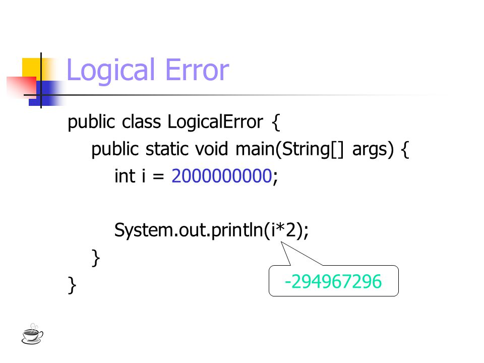 Logical Error public class LogicalError {