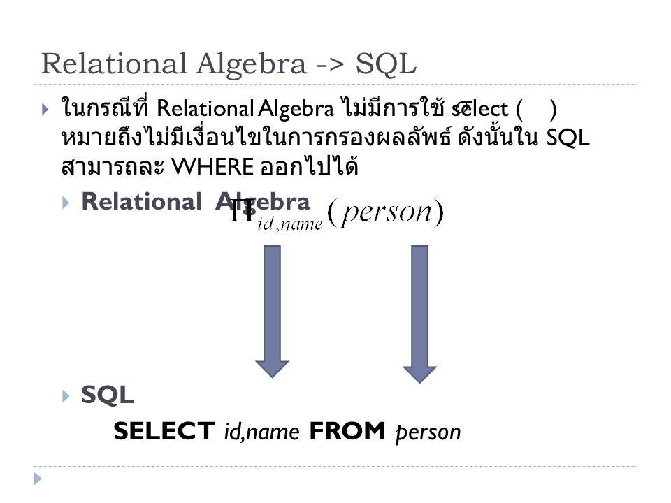 Relational Algebra -> SQL
